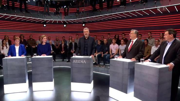 Die Protagonisten der Europa-Arena von Freitag: Magdalena Martullo-Blocher, Christa Markwalder, Moderator Sandro Brotz, Filippo Lombardi, Corrado Pardini.