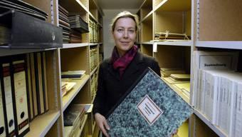 Salome Moser Schmidt, Projektverantwortliche der Stadt und Leiterin des Stadtarchivs, im Stadtarchiv (Archiv)