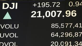 Anzeige an der New Yorker Börse zeigt den Dow Jones erstmals über der Marke von 21'000 Punkten