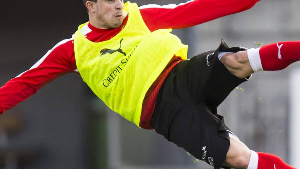 Solche Tore wie hier bei Xherdan Shaqiri im Training vor dem WM-Qualifikationsspiel gegen Lettland könnte die Schweiz brauchen