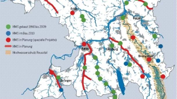 Karte Hochwasserschutz Aargau