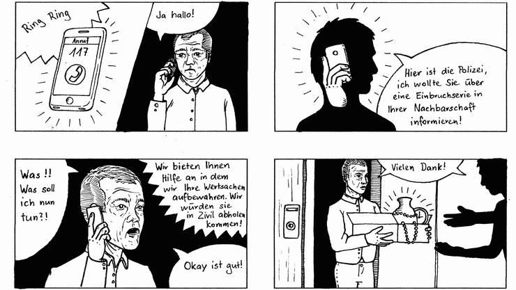 Mit solchen Comics warnt die Kantonspolizei vor Trickbetrügern.