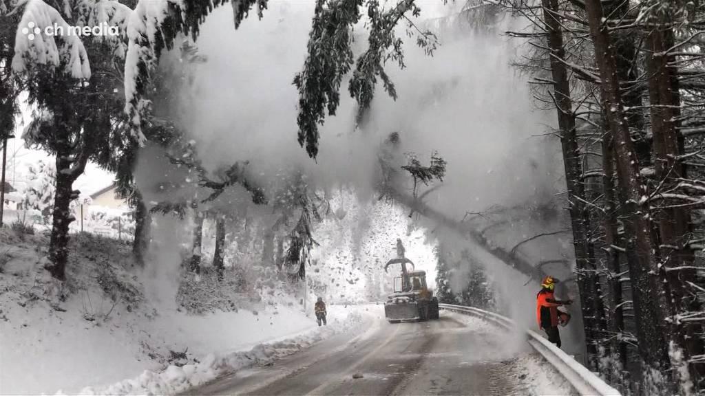 Schneemassen fordern auch im Aargau die Polizei, die Feuerwehr – und die VJs