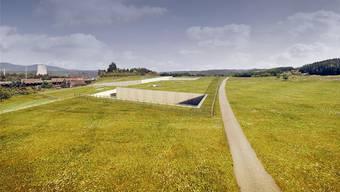 So könnten die Oberflächenanlagen in Däniken in die Landschaft eingebettet werden. Dies aber erst, wenn der Tunnel und die Lagerkaverne nach mehrjähriger Bauzeit ausgebrochen worden sind. Nagra