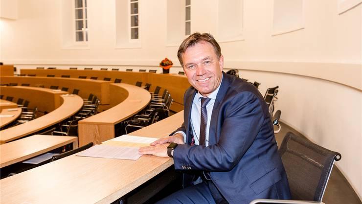 Sitz Nummer 124: Andreas Meier hat am Dienstag zum ersten Mal im Grossen Rat Platz genommen. Sandra Ardizzone