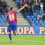 Arthur Cabral trifft in der 9. Minute zum 1:0. Sein erster Treffer für den FCB ist auch der hundertste dieser Super-League-Saison. Bild:Fresh