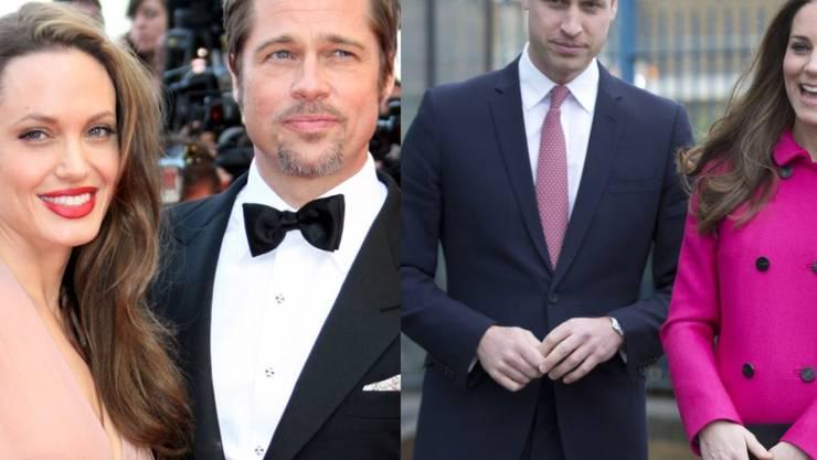 Glamour trifft auf Adel: Angelina Jolie und Brad Pitt (links) tranken Tee bei William und Kate (Archiv)