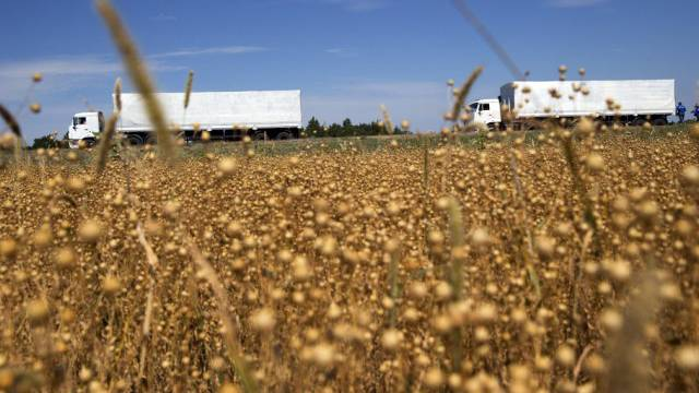 Zwei der 280 Lastwagen des Hilfskonvois