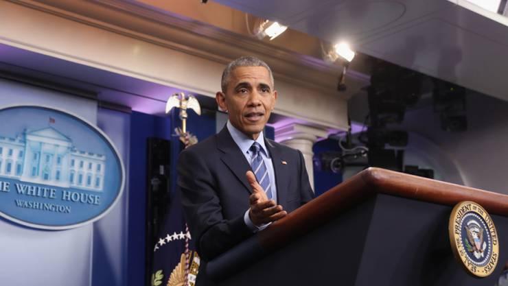 US-Präsident Barack Obama bei seiner Jahresabschluss-Medienkonferenz am Freitag in Weissen Haus in Washington.