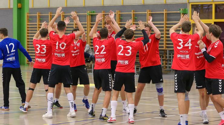 HSC Suhr Aarau II vor dem Spiel gegen TV Muri II am 17. Oktober - wegen eines Coronafalls ist das Team in freiwilliger Quarantäne, eine Verfügung des Kantons gibt es noch nicht.