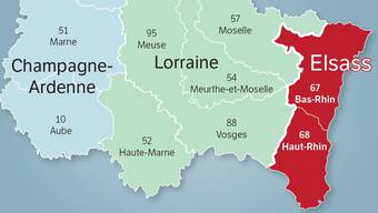 Die Bedeutung des Elsass in der Grossregion Grand Est soll durch die Fusion von Haut-Rhin( Süden) und Bas-Rhin (Norden) wieder zunehmen.