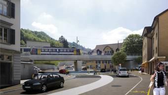 So sollen Kreisel und Eisenbahnbrücke künftig aussehen. Am Projekt des Kantons muss sich Baden mit 12 Mio. Franken beteiligen. Zu viel, finden Badener Grossräte.ZVG