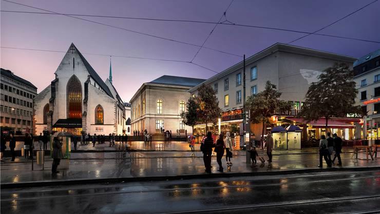 Das Stadtcasino soll ab 2016 definitiv nach den Plänen von Herzog und de Meuron in Richtung Barfüsserkirche erweitert werden. ZVG
