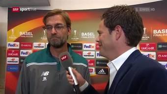 «Klopp hoch?»: SRF-Mann Lukas Studer verärgert Jürgen Klopp.