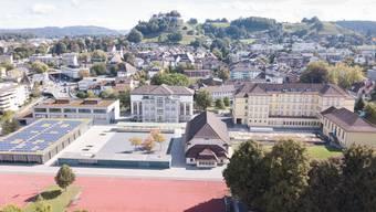 Die Schulanlage Angelrain mit den Schulhäusern «Bleicherain», «Angelrain» und «Mühlematt» (v.r.). Letzteres soll mittelfristig ausgebaut werden.