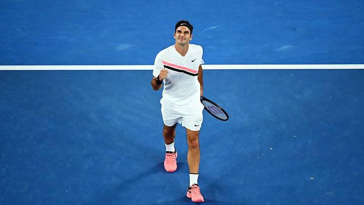 Roger Federer steht am Australian Open in Melbourne zum 16. Mal in den Achtelfinals