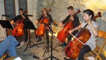 Auch für Konzerte muss der Meyersche Stollen mitunter herhalten, hier spiele vier Cellisten der argovia philharmonic.