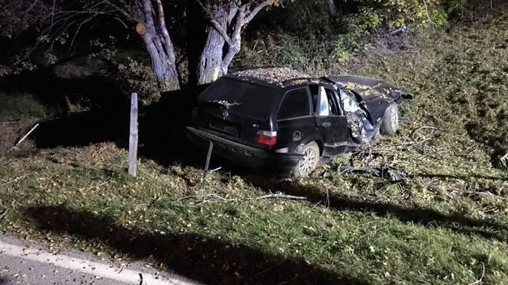 Bei einem schweren Verkehrsunfall unterhalb von Nex VS starben ein 20- und ein 27-Jähriger. Der Personenwagen rammte den rechten Strassenrand, kam von der Fahrbahn ab und prallte gegen einen Baum.