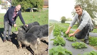 Thomas Hafner aus Berikon (links) setzt auf nachhaltige Landwirtschaft mit Gemüse und Wollschweinen. Ramon Staubli aus Muri führt den wohl grössten Bio-Erdbeeren-Betrieb im Aargau.