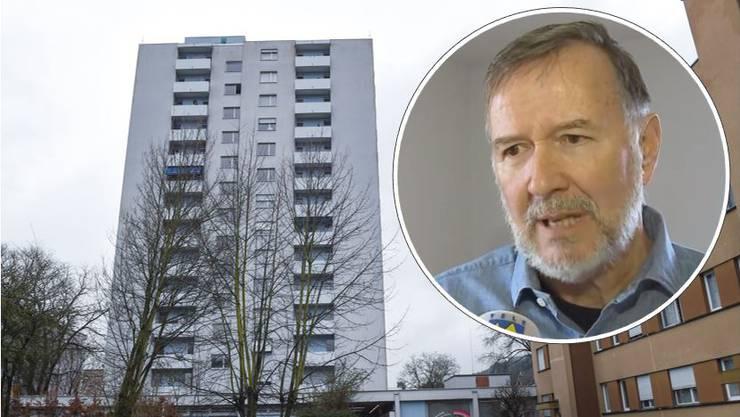 Der langjährige Kriminalkommissär Markus Melzl vor dem Wohnblock in Spreitenbach, in dem die Tat geschah.