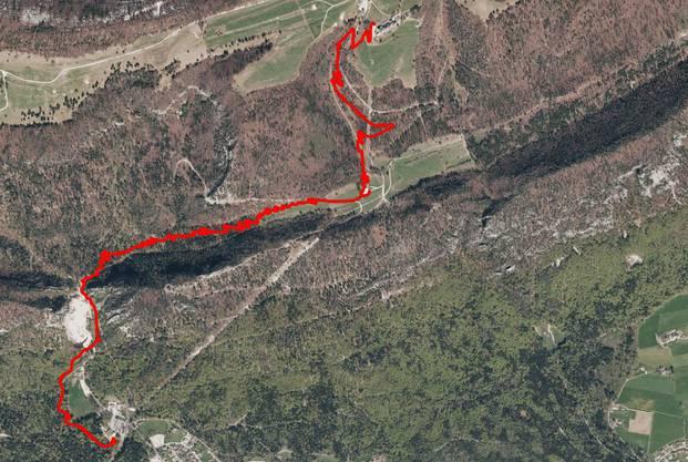 Der geplante Verlauf der Bike-Strecke: Von der Berg- bis zur Talstation der Seilbahn.