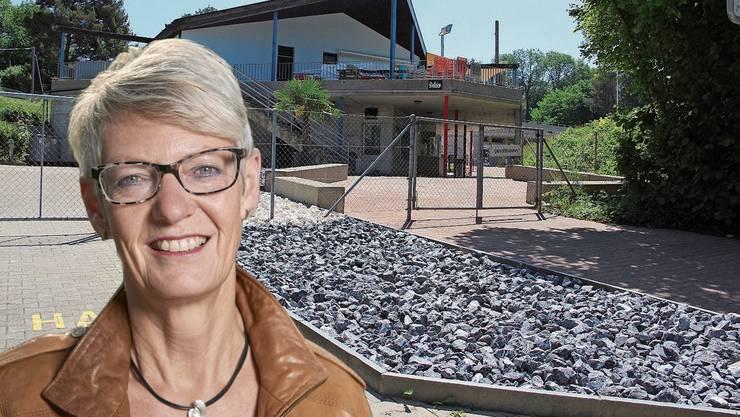 Nach 39 Jahren präsentiert sich der Eingangsbereich zur Badi Heumatten neu mit Steinen und Palmen. Keine Freude daran hat die CVP-Einwohnerrätin Elsbeth Hofmänner.