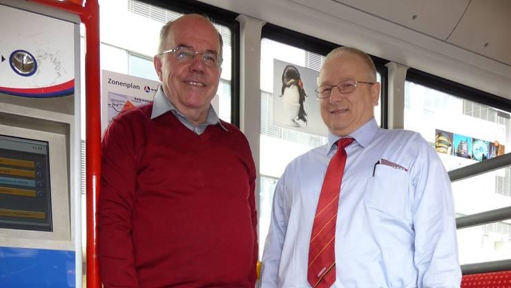 Jürg Nyffenegger (l.) und Buschauffeur Karl Meier hoffen, dass sich die Zustände in den Bussen dank Begleitern bessern.