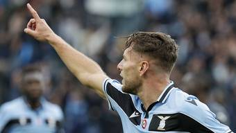 Lazios Topskorer Ciro Immobile traf gegen Sampdoria Genua drei Mal