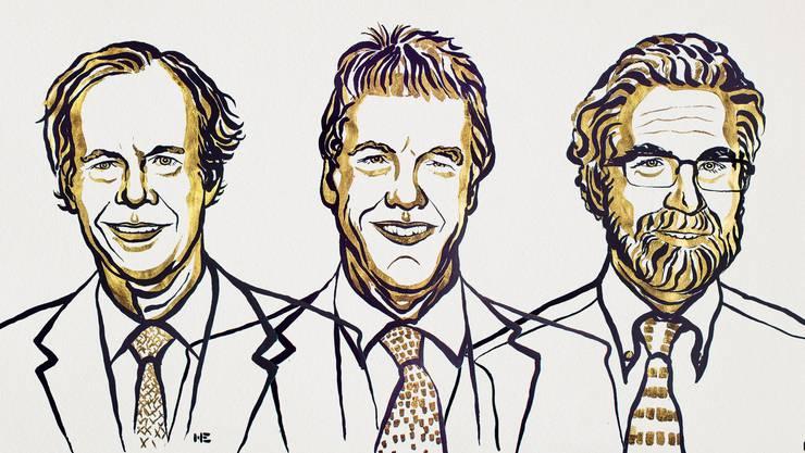 Frisch gekürte Nobelpreisträger, von links: William G. Kaelin, Peter J. Ratcliffe und Gregg L. Semenza. (Illustration: Nobel Media)
