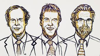 Frisch gekürte Nobelpreisträger, von links: William G. Kaelin, Peter J. Ratcliffe und Gregg L. Semenza. (Illustration: Nobel Media)