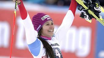 Wendy Holdener - hier nach ihrem 2. Platz von Lienz - visiert ein weiteres Spitzenresultat an