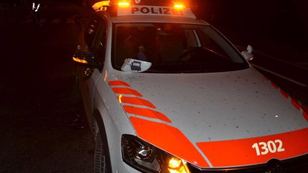 Auch das Polizeiauto musste daran glauben, als ein mutmasslicher Einbrecher sich nicht anhalten lassen wollte.