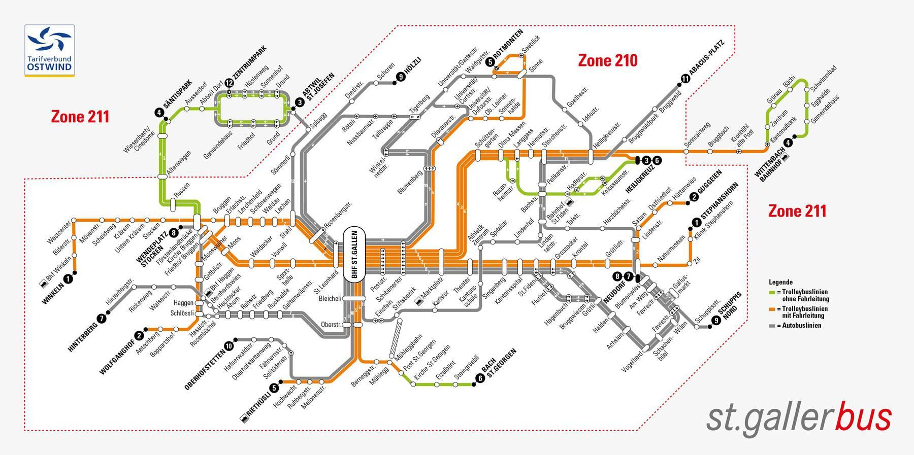 Liniennetzplan VBSG ab Dezember 2020 mit Darstellung der elektrifizierten Linien. (Bild: Stadt St.Gallen)