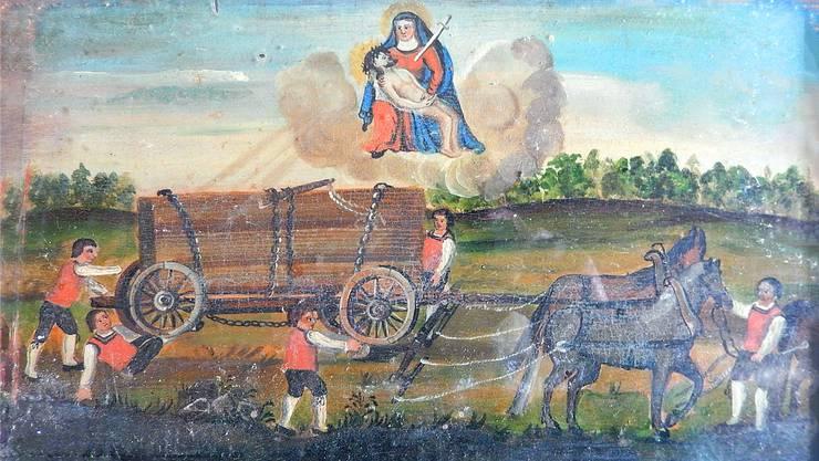 Bei diesem schweren Unfall mit einem Fuhrwerk hat die Maria von Mariastein geholfen. Eine Holztafel aus dem 19. Jh.