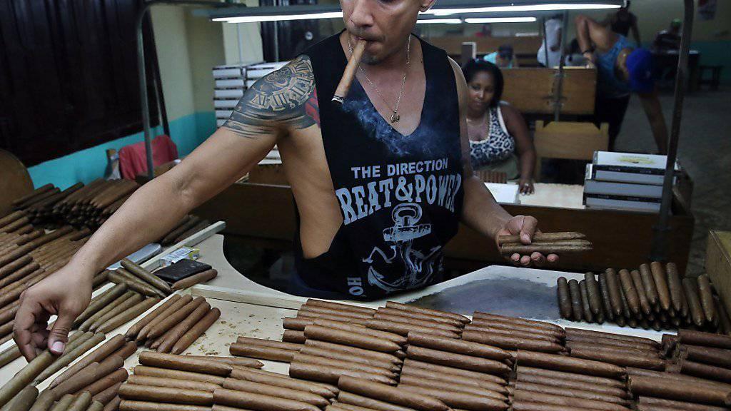 Der für seine Zigarren bekannte Inselstaat Kuba erwartet weniger Touristen aufgrund der US-Sanktionen: ein Arbeiter in einer Zigarrenfabrik (Archivbild).