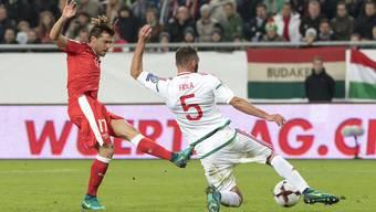 Fussballspiel Schweiz Ungarn.