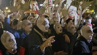 Mit Zobiemasken gegen den Regierungschef: Zehntausende demonstrierten in Ljubljana gegen Janez Jansa