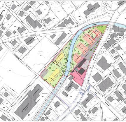 Zwei Projekte vereint: Die rosa-farbenen Gebäude sind der Teilbereich A, die gelben der Teilbereich B. Dunkel sind die bestehenden Liegenschaften Rütti. Markant: das Augstbachbett wird, wo es heute überdeckt ist, wieder geöffnet.
