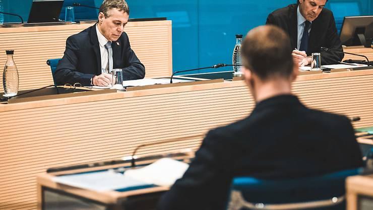 Bundesrat Ignazio Cassis am Montagnachmittag auf Solidaritäts- und Erklärungsbesuch in Bellinzona.