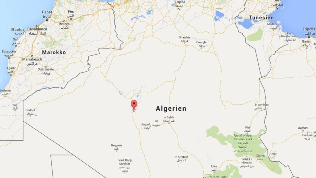 In der Provinz Adrar in Algerien stürzt ein Militärhelikopter bei einem Aufklärungsflug ab: Zwölf Soldaten kommen ums Leben. (Bild: googlemaps)