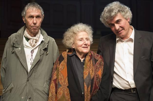 Der Schweizer Literaturpreis geht an Jean-Marc Lovay, Erica Pedretti und Fabio Pusterla (v.l.)