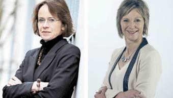 Links Eva Herzog (SP), neue Ständerätin des Kantons Basel-Stadt und rechts Maya Graf (Grüne), neue Ständerätin des Kantons Baselland. (Junkov / zvg)