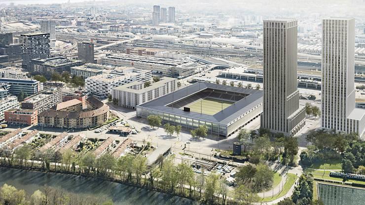 Es sieht 174 Genossenschaftswohnungen, ein Stadion für rund 18'000 Zuschauer und zwei Wohn- und Bürotürme mit rund 570 Wohnungen vor. Die gesamten Investitionen belaufen sich auf rund 570 Millionen Franken.