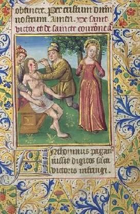 Der Heilige Victor und Corona in einer Miniaturmalerei, Paris um 1480.