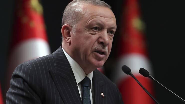 HANDOUT - Recep Tayyip Erdogan, Präsident der Türkei, spricht während einer Fernsehansprache im Anschluss an eine wöchentliche Kabinettssitzung. Foto: --/Turkish Presidency/ AP Pool/dpa - ACHTUNG: Nur zur redaktionellen Verwendung und nur mit vollständiger Nennung des vorstehenden Credits