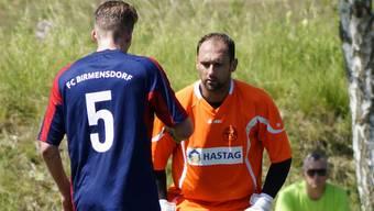 Comeback-Torhüter Michael Angstmann (hinten) mit Remy Madörin.