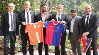 Peter Martin Von Bueren (CFO) FC Basel, Roland Heri (CEO) FC Basel, Rohit Ramesh, Co-owner-Chennai City FC, Bernhard Burgener (President) FC Basel, R Krishnakumar Co-owner- Chennai City FC, Massimoh ( Head of Youth Deve (1)