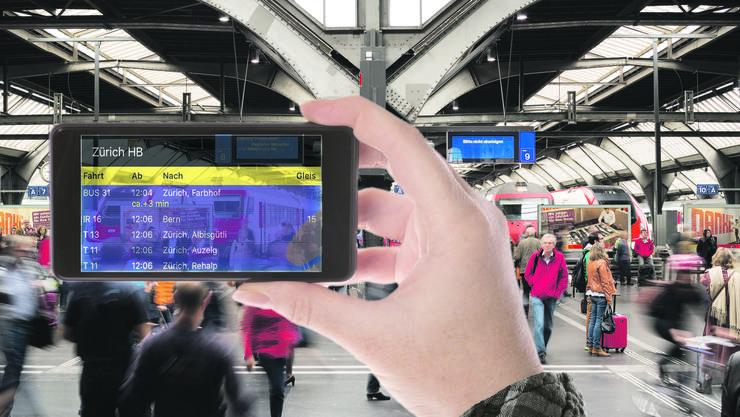 Das Handy als Anzeigetafel: Die neue App soll je nach Standort im Bahnhof entsprechende Angaben zum Fahrplan in Echtzeit liefern.