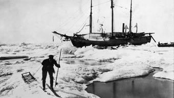 Ein Mann der Crew auf Ski vor Nansons Schiff, das mit dem Packeis durch das Nordpolarmer driftet. Alamy Stock Photo