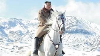 Nordkoreas Machthaber Kim Jong Un reitet propagandawirksam auf dem Rücken eines weissen Pferds auf dem Berg Paektu, dem höchsten Gipfel des Landes.